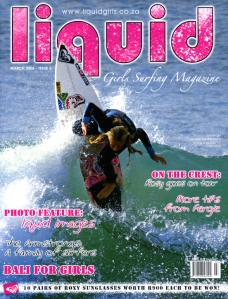 Liquid Girls Surfing magazine, cover of March 2006 issue.